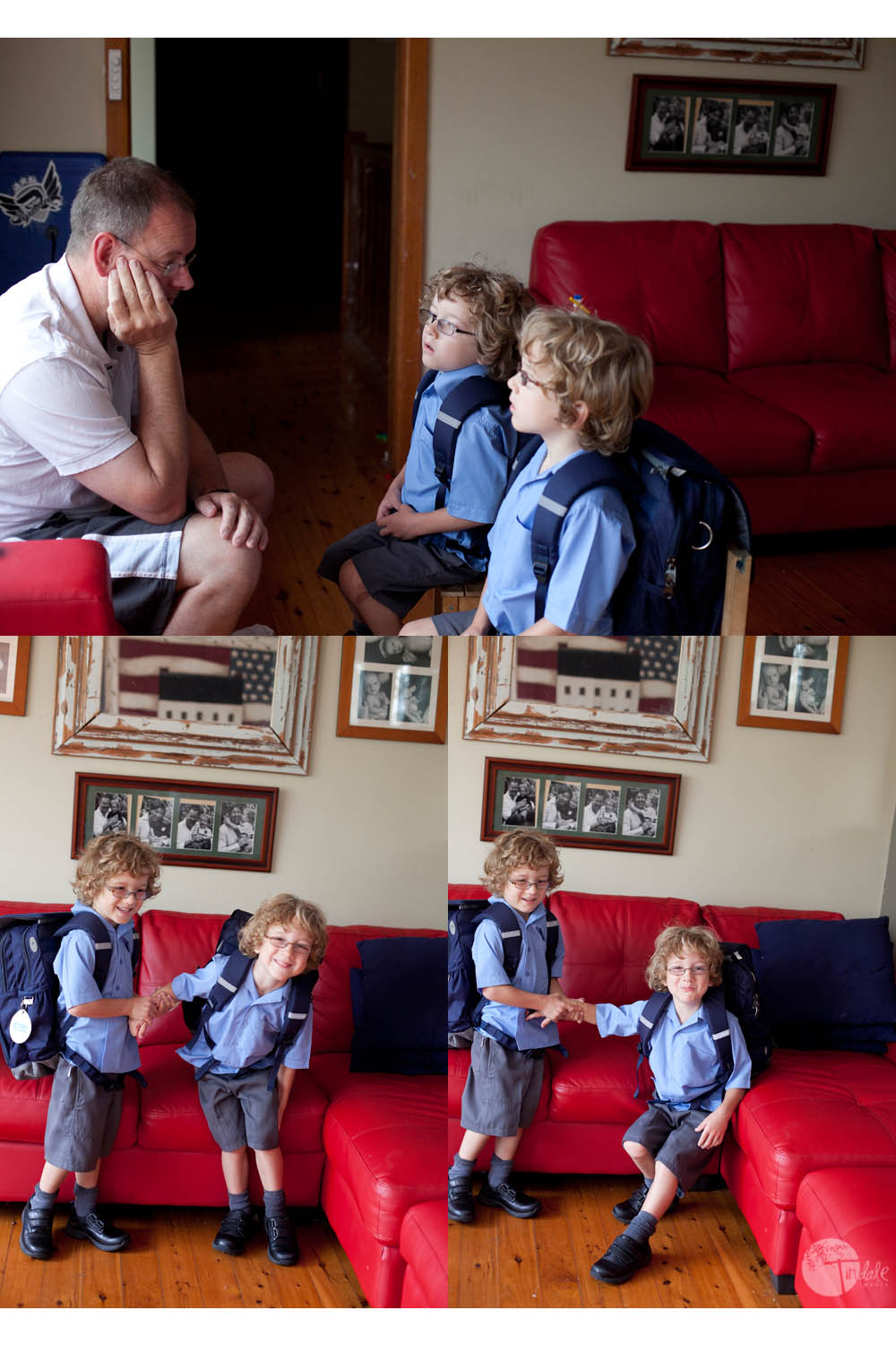 first day of school for the tindale boys - childhood memories project